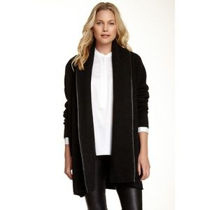 Vince Leather Trim Wool Blend Carcoat
